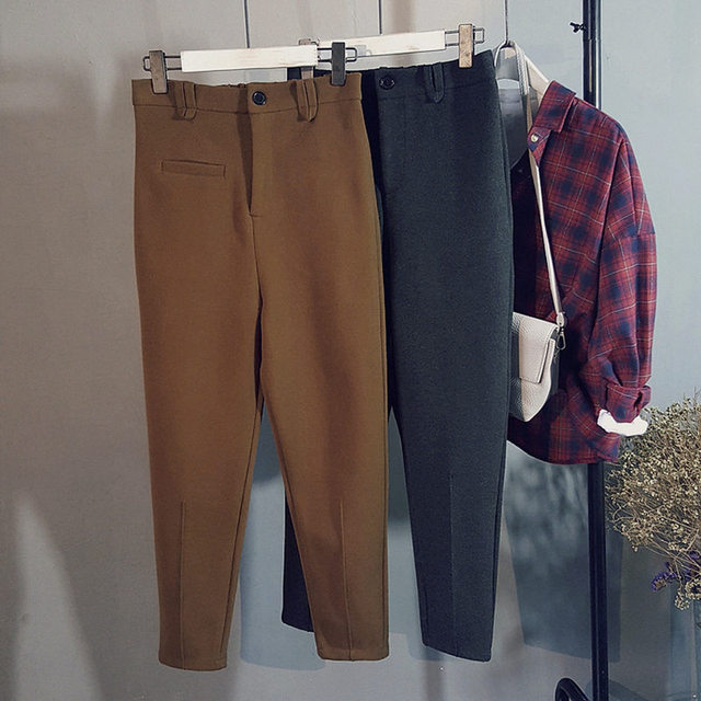 Warm Pants Casual Coffee Gray Women Velet Pant Vintage Womens Trousers Winter Pencil Wool Pants
