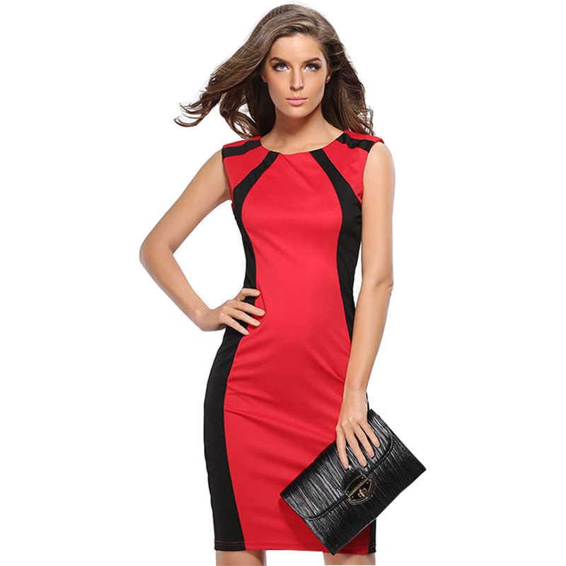 b3a8ded8809 Платья Для женщин 2019 без рукавов карандаш Лоскутные узкие пикантные узкие  модные Для женщин  Посылка