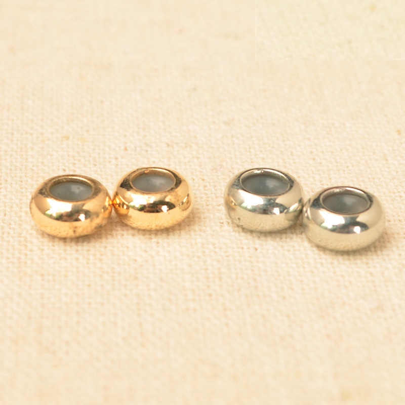 50PCS 8mm*4mm Fashion Metal Brass Spacer Beads Flat Round Beads With Rubber Ring For Jewelry Making
