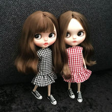 1pcs doll dress Doll's Blyth Clothes Grid falbala Dress for Pullip clothing ob24 Azone 1/6 Doll Accessories for barbie(China)