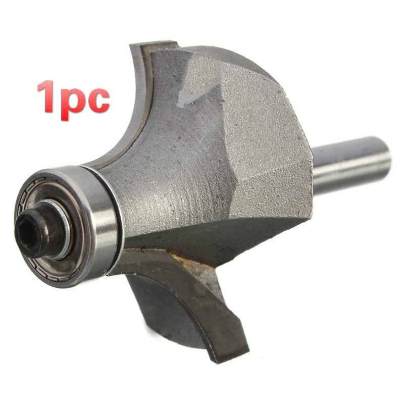 1pc Carpentry Gray 1/4 inch Shank Roundover Bit Router Tool Machinery Industry 55mm long end bearing corner roundover router bit tool replacement 1 4 x 5 8