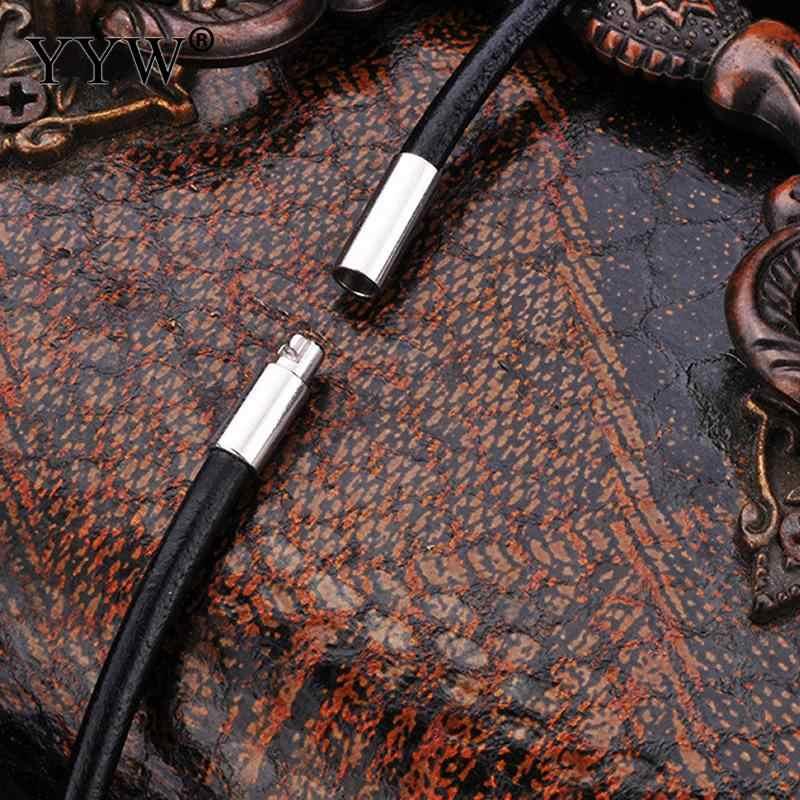 2/3/4mm 18/20/22/24 cal czarny skórzany przewód naszyjnik łańcuch ze stali stali nierdzewnej zapięcie bagnetowe złącze okrągłe liny woskowane dla mężczyzn kobiety