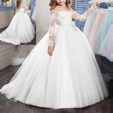 цена на Girls First Communion Princess Dress High Waist Ball Gown Puffy Tulle Long Dress Flower Girls Wedding Bridesmaid Dress for Kids