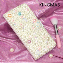 Diamond Pearl Case for iPhone 6 7 8 Plus X XS XR MAX Deluxe Handmade Gold Shiny PU Leather Flap Phone Case for Apple 6S plus