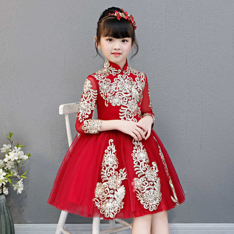 Little Girls Toddler Elegant Wine-red Embroidery Flowers Birthday Wedding Party Prom Dress Kids Teens Luxury Host Piano Dress fs royal wine red vintage wool pillbox hat for woman elegant wedding ladies dress hats fascinator derby party church fedora