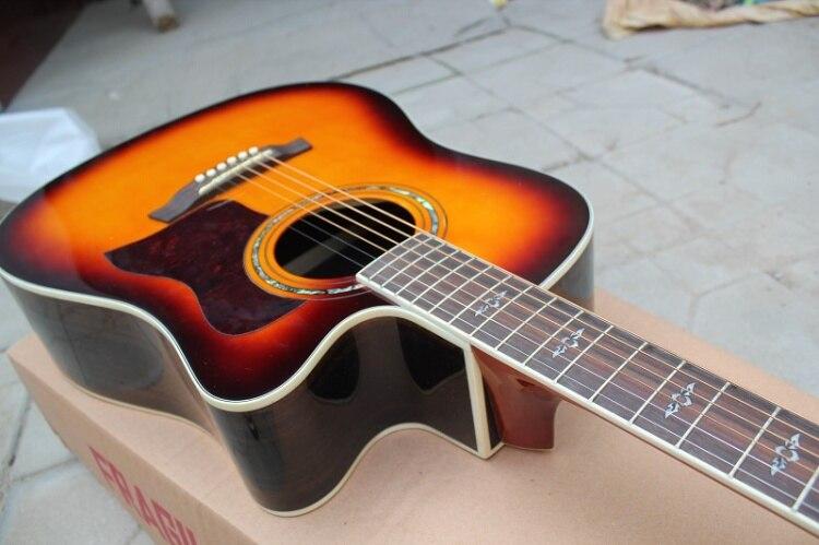 Usine Personnalisé 41 ''coupe sunburst Guitare Acoustique avec haut rigide dos en érable côté peut ajouter Fishman ramassage