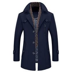 Мужская повседневная шерстяная Тренч модная деловая Длинная утепленная тонкая куртка зимнее шерстяное пальто Мужская Chaqueton Hombre Mantel Herren 5