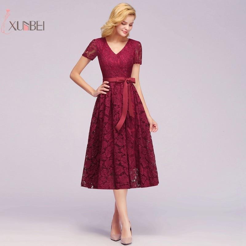 Elegant V Neck Burgundy Lace Short   Evening     Dress   2019 A line Applique Swing   Evening   Gown robe de soiree