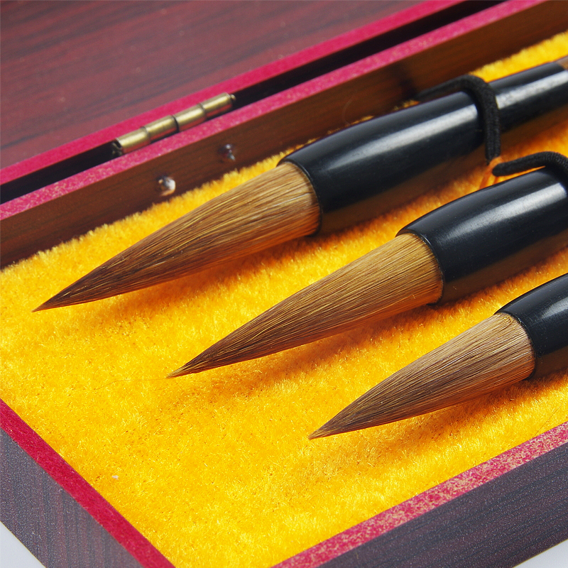 3pcs/set hot selling Chinese calligraphy brushes pen for weasel Hair ink brush pen student office calligraphy pen gift box set pimio pen business gift set for men and women lovers pen gift box calligraphy pen