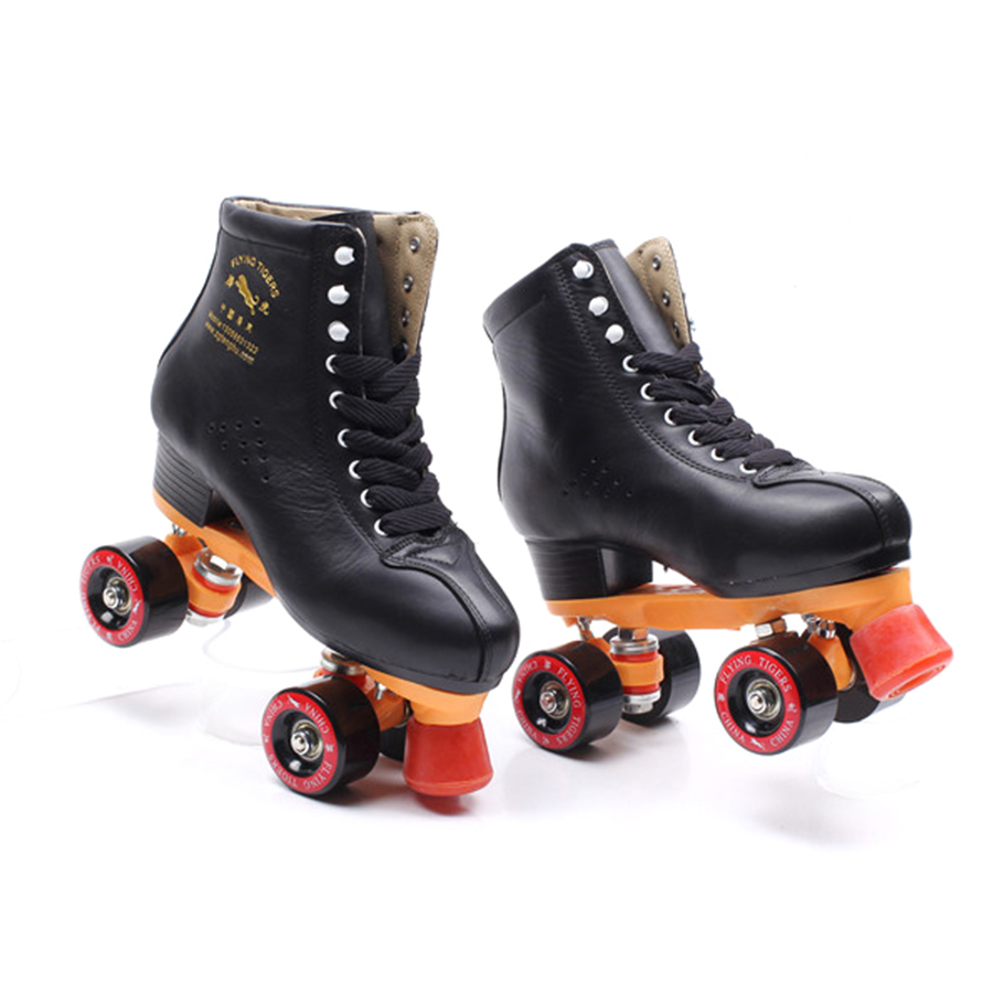 Japy Black Geniune Leather Roller Skates Double Line Skates Men Women Adult Black PU 4 Wheels Two Line Skating Shoes Patines reniaever roller skates double line skates white women female lady adult with white pu 4 wheels two line skating shoes patines