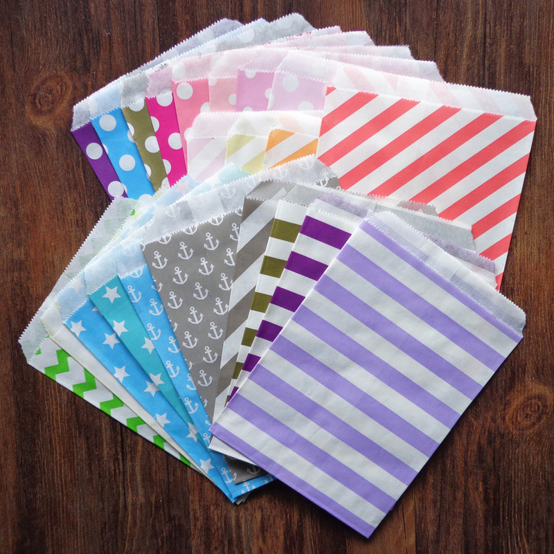 25pcs Dots Striped Anchor Design Paper Bags Grease Proof Wavy Stripes Candy Colors Gift Bags Wedding Party Snack Candy Paper Bag