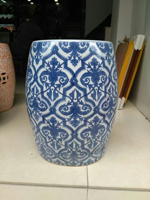 Blue Porcelain Stool Jindezhen Bathroom Dressing Ceramic Garden Stool  Chinese Ceramic Drum Stool Bathroom Ceramic Stool
