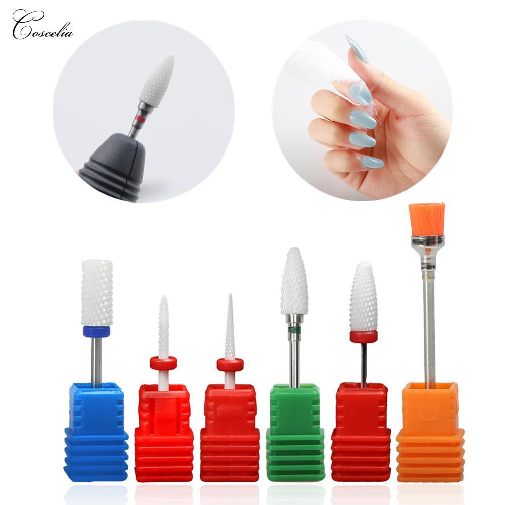 COSCELIA Ceramic Nail Drill Bits Cutters For Milling Machine Manicure Milling Cutter For Removing Gel Varnish Ceramic Stone Bit