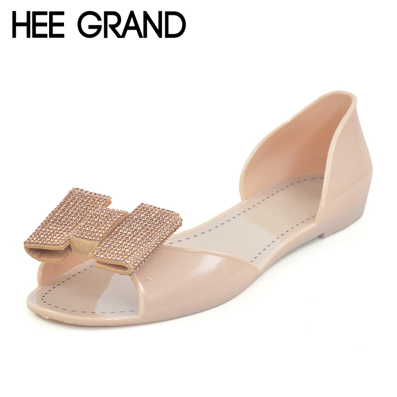 HEE GRAND Beach Jelly Sandals 2017 Summer Slides Slip On Jelly Shoes Woman Bling Rhinestones Bowtie Casual Flats XWZ3467 hee grand sweet faux fur slippers fashion flats shoes woman slip on bowtie winter warm women shoes 4 colors size 36 41 xwt966
