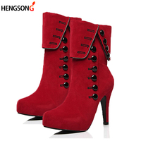 Fashion Women Ankle Boots High Heels Fashion Red Shoes Woman Platform Flock Buckle Boots Ladies Shoes
