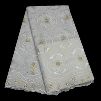 High Quality Nigerian Lace Fabrics 2018 White African Swiss Voile Lace In Switzerland For Men And
