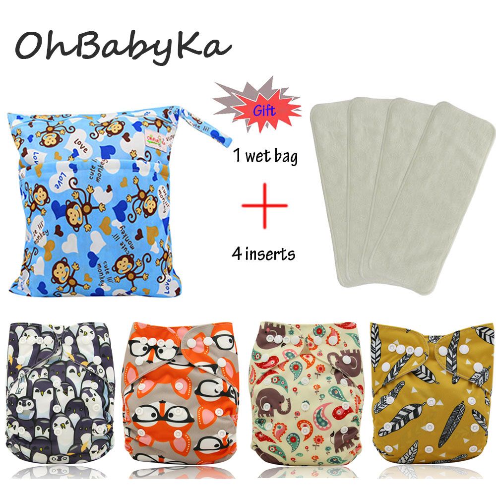 OhBabyKa Baby Nappies Cartoon Print Reusable One Size Pocket Cloth Diaper 4Pcs+ 4Pcs Microfiber Insert+1pc Nappy Bags Baby Care ananbaby cloth diaper reusable pocket nappies washable modern cloth nappy pul diaper cover 100