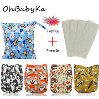 OhBabyKa Baby Nappies Cartoon Print Reusable One Size Pocket Cloth Diaper 4Pcs 4Pcs Microfiber Insert 1pc