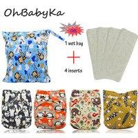 OhBabyKa Baby Nappies Cartoon Print Reusable One Size Pocket Cloth Diaper 4Pcs 4Pcs Microfiber Insert 1pc