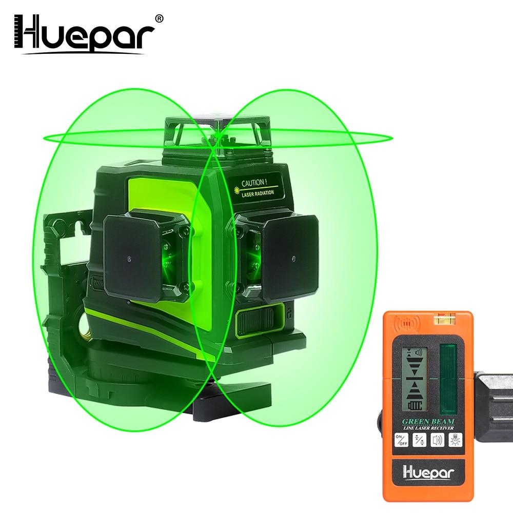 Huepar 12 Lignes 3D Vert Croix Ligne Laser Niveau Auto-Nivellement 360 Degrés Vertical et Horizontal avec LCD Récepteur USB De Charge