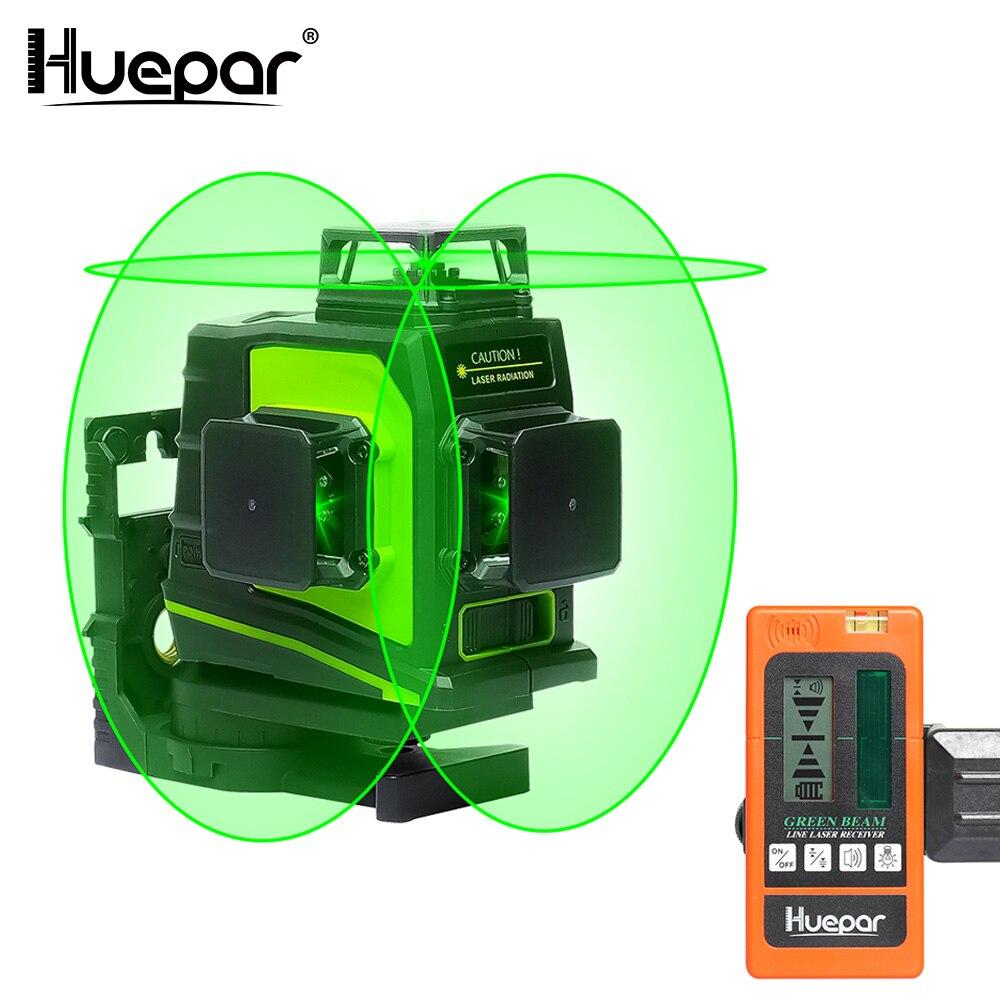 Huepar 12 Linien 3D Grün Kreuz Linie Laser Ebene Selbst Nivellierung 360 Grad Vertikale und Horizontale mit LCD Empfänger USB Lade