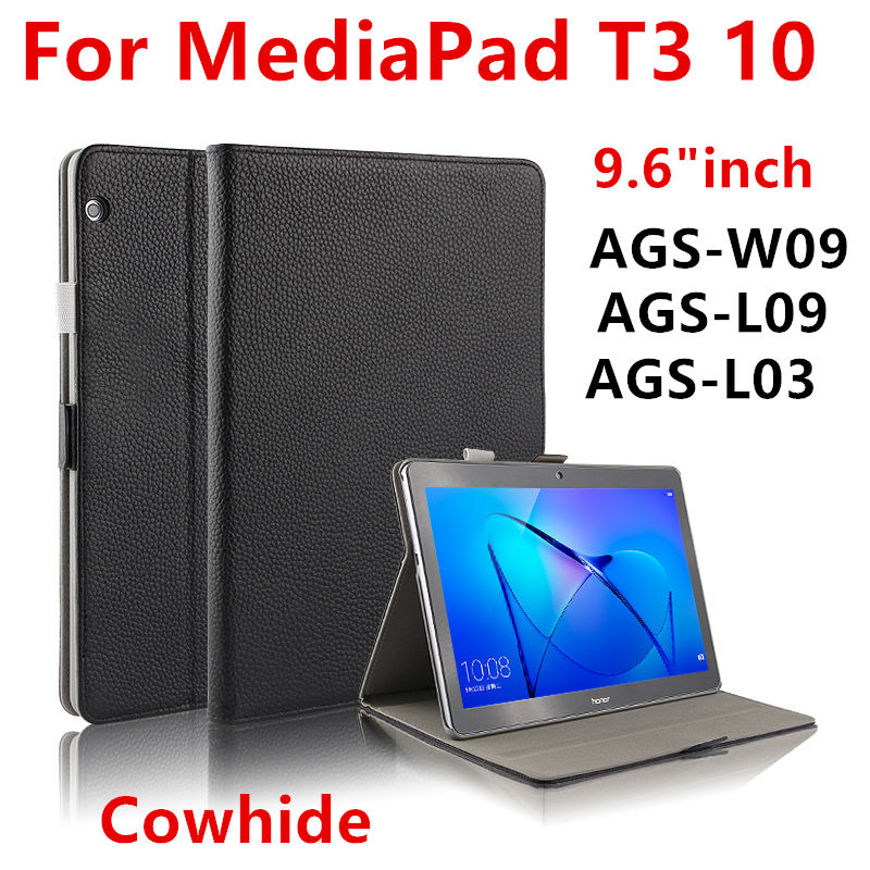 Case Cowhide For Huawei Mediapad T3 10 AGS-L03 ags-L09 w09 9.6 Protective Cover Genuine Leather Cases For Honor Play Pad 2 9.6 case for huawei mediapad t3 10 ags w09 ags l09 ags l03 9 6 inch tablet cover cases protective pu leather protecto sleeve covers