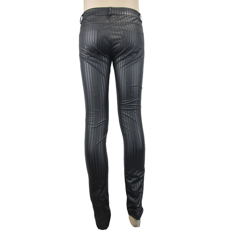 Чёрные мужские облегающие брюки в стиле панк, черные повседневные обтягивающие брюки в стиле стимпанк - 6