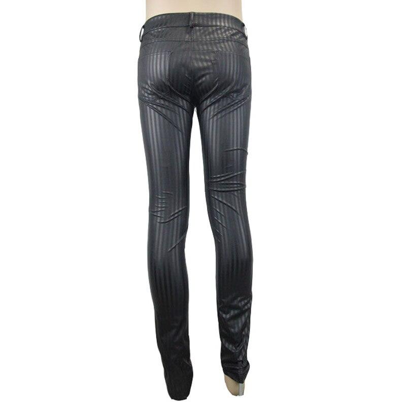 Devil Fashion Punk Men Tight Pants Steampunk Black Casual Tight Trousers Striation Skinny Pants - 6