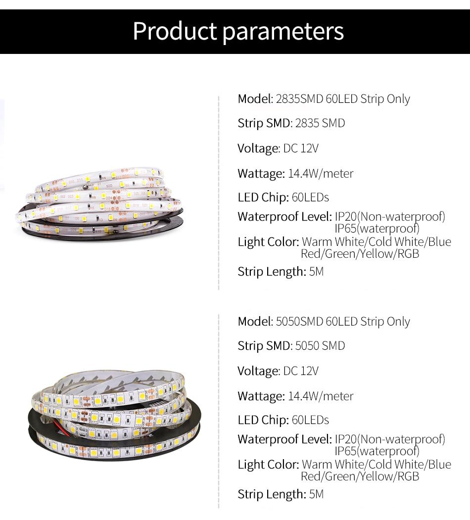 HTB1FbXCaLjsK1Rjy1Xaq6zispXan DC 12V LED Strip Light Flexible Diode Ribbon Tape RGB SMD 2835 5050 44Key Power Remote 5M 10M 15M Full Set Waterproof Lighting