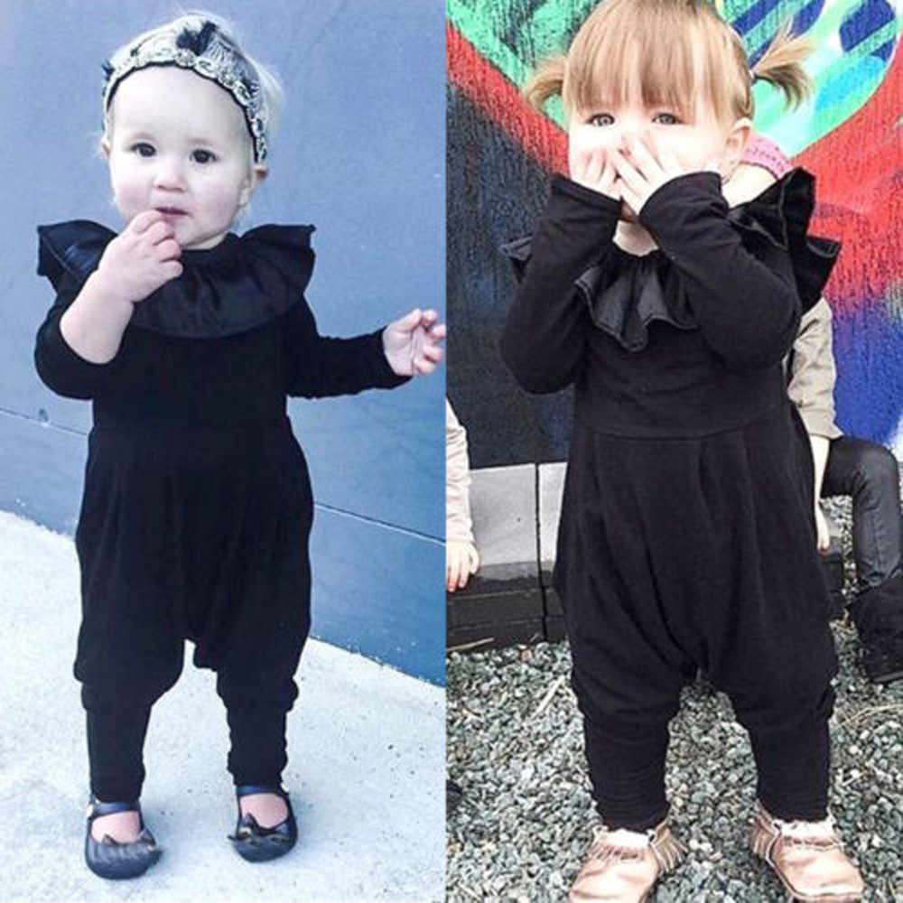 Новинка 2018 года; одежда для маленьких мальчиков и девочек модный черный однотонный комбинезон с круглым вырезом и длинными рукавами для новорожденных