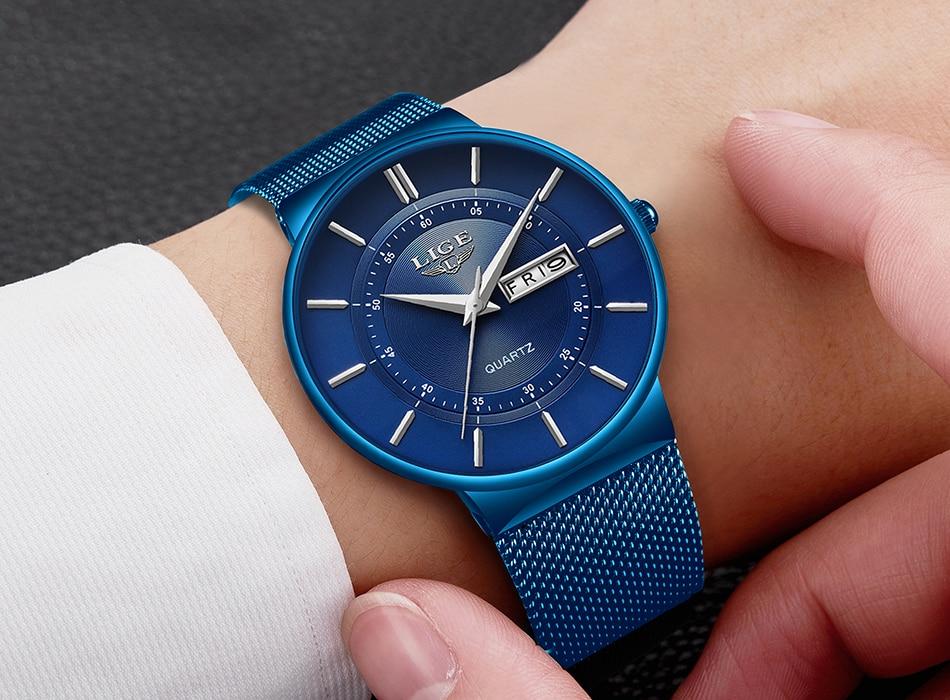 HTB1FbXKd8iE3KVjSZFMq6zQhVXai Relogio Masculino 2019 LIGE New Mens Watches Top Brand Luxury Ultra Thin Quartz Watch Men Steel Mesh Strap Waterproof Gold Watch