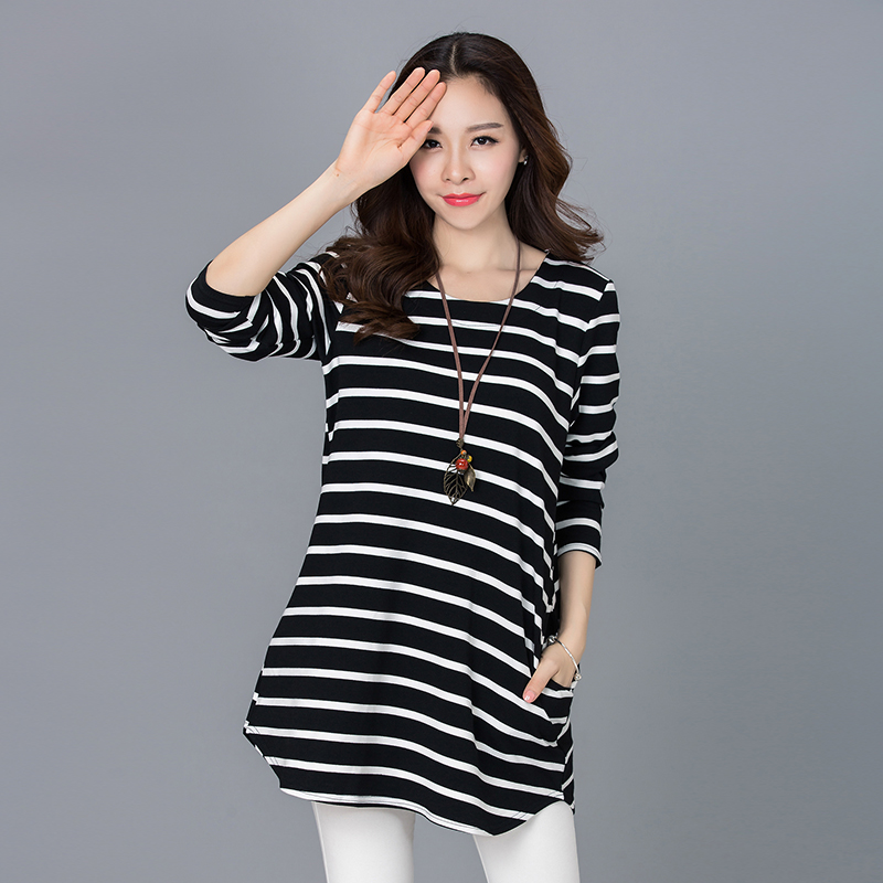 2017 Spring Korean Style Women Clothing Casual Loose Long Sleeve Striped Pockets Plus Size Thick