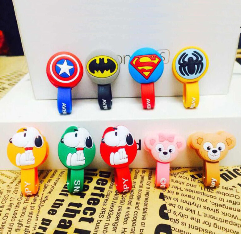 500pcs/lot Superman, Batman Headphone Cord Holder Earphone Cable Wire Organizer USB Charger Cable Winder Dog and Bear style