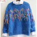 colored tassel school pullover sweaters winter warm basic tops fluffy maglia