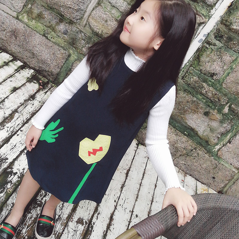 Princess Dress for Girls Clothes cartoon Printed Robe black Costumes for Children Clothing 2017 Brand Girls Dresses Kids new girls dress brand summer clothes ice cream print costumes sleeveless kids clothing cute children vest dress princess dress