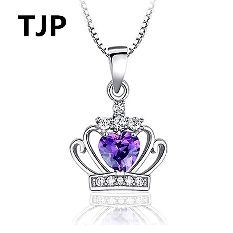 TJP New Fashion Crown Choker Necklace Jewelry 925 Sterling Silver Pendants Girl Wedding Party Purple