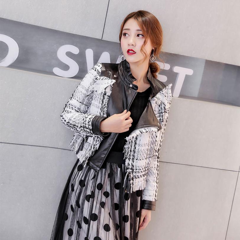 2018 autumn winter fashion new women's locomotive stitching tassel PU   leather   jacket coat female Slim was thin outwear L1090