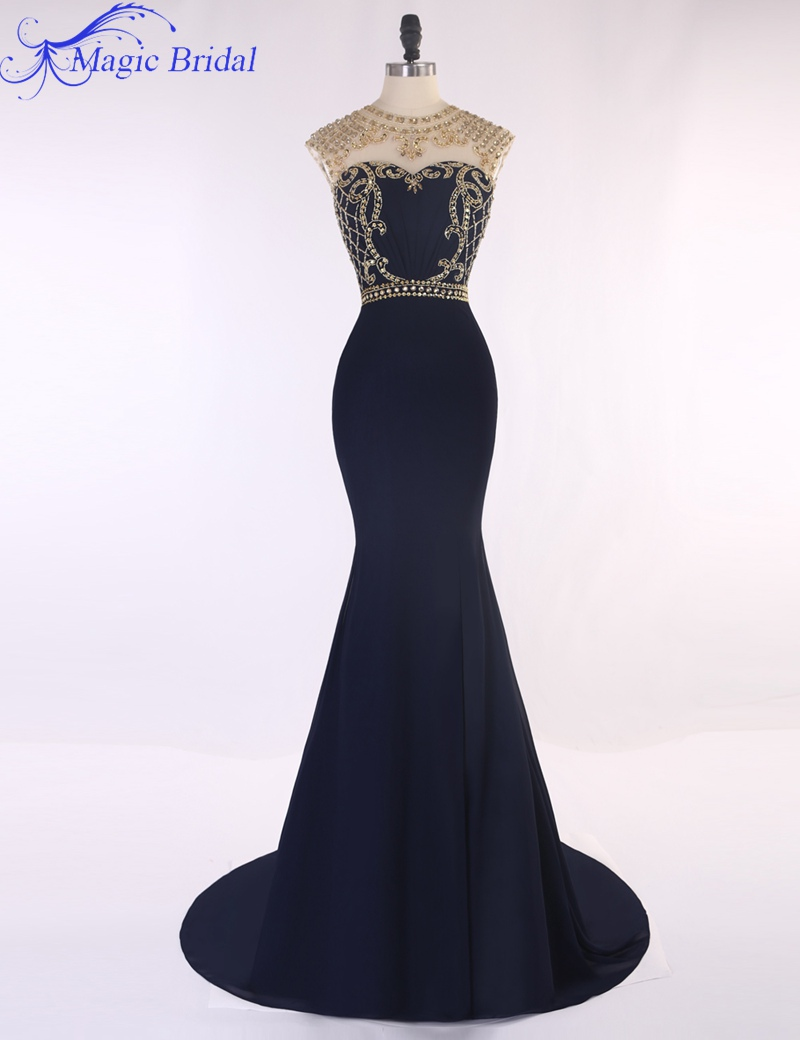 Scoop Neck Gold Crystals Beaded Navy Blue Mermaid Prom