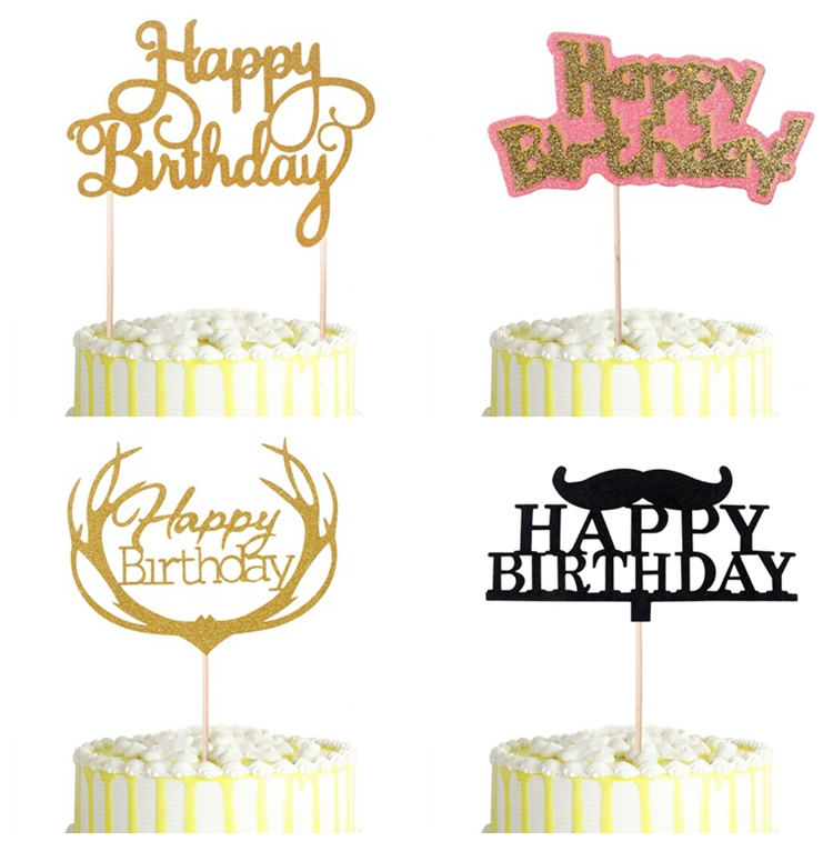 Qifu Gold Glitter Birthday Cake Toppers Black Moustache Cake Toppers
