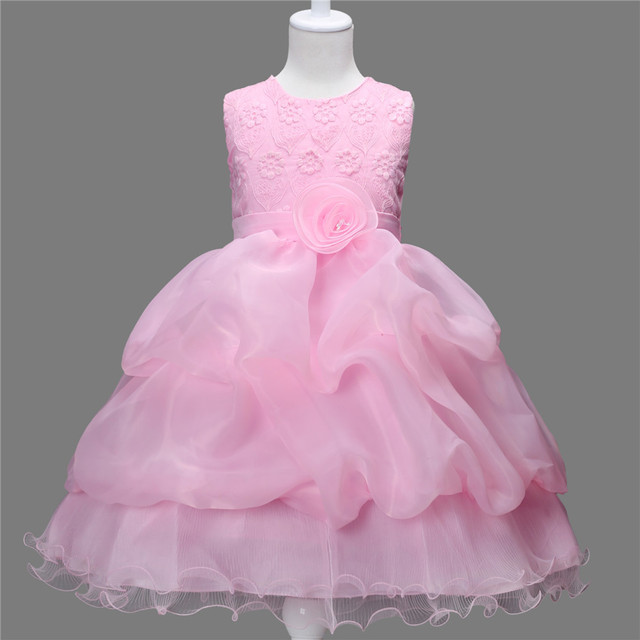 cccc15410aee Rose Flower Baby Girl Dress Children Bridesmaid Toddler Elegant ...