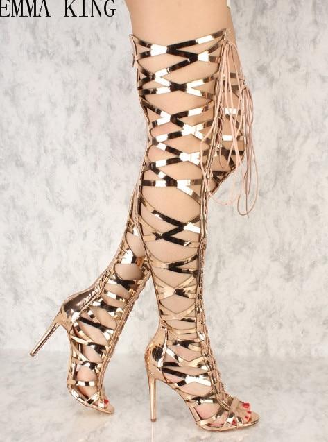 Toe as Chaussures Bottes Picture Style Croix Stylets Picture Le attaché Sur Femmes Peep Cuissardes Lace Summer Sexy Up Parti Genou As Sandales Nouveau Gladiateur gqxvwBHZYH