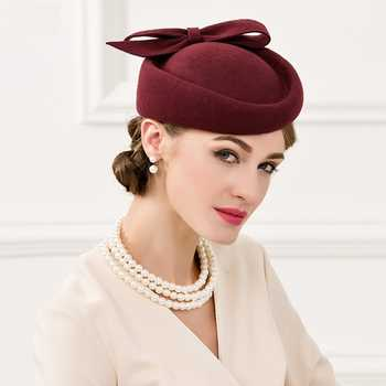 Women Fedoras Wool Hat New Female Nobles Hat Women Wool Vintage Cap Small British Banquet Cap