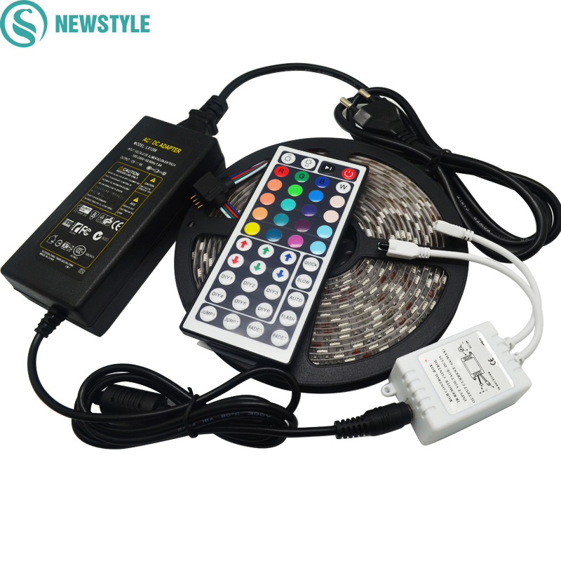 цена на 5M RGB Led Strip 5050 SMD Waterproof/Non waterproof 60LED/M DC12V LED Light+44 Keys Remote Controller+12V 5A Power Adapter