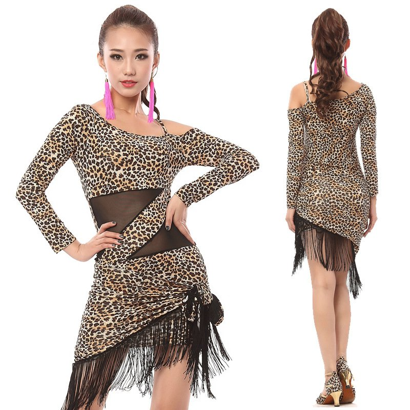 Leopard Print Latin Dress New Fashion Tassel Nightclub Performance Female Adult Gauze Costume National Style Latin Dance Dress