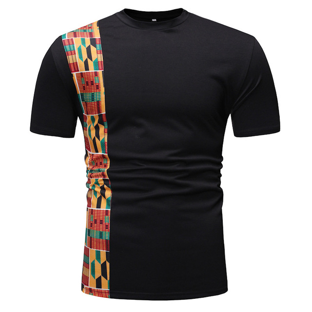 Blanc Patchwork africain Dashiki impression t-shirt hommes 2020 flambant neuf à manches courtes t-shirt Homme Streetwear décontracté vêtements africains