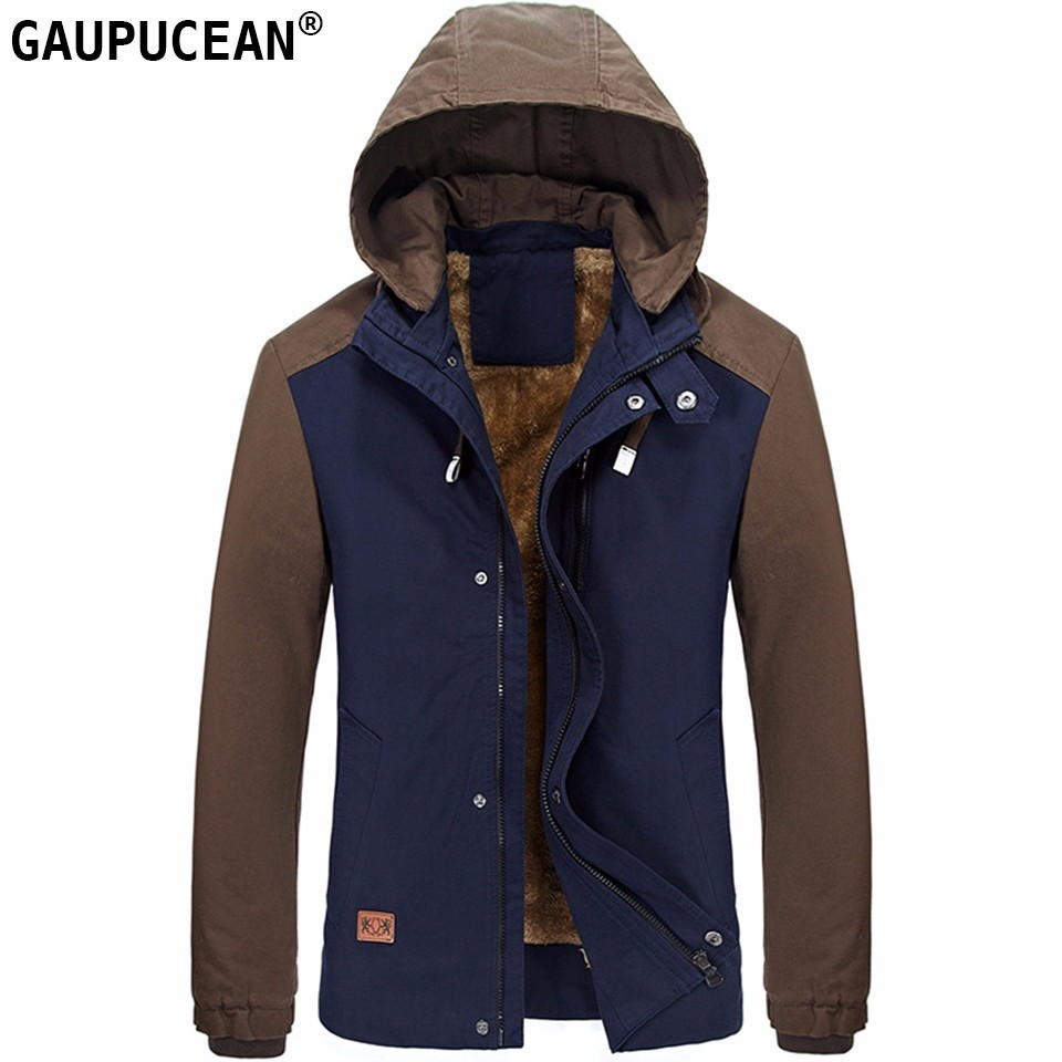Autumn and winter men s jacket casual plus velvet jacket solid color business large size cotton