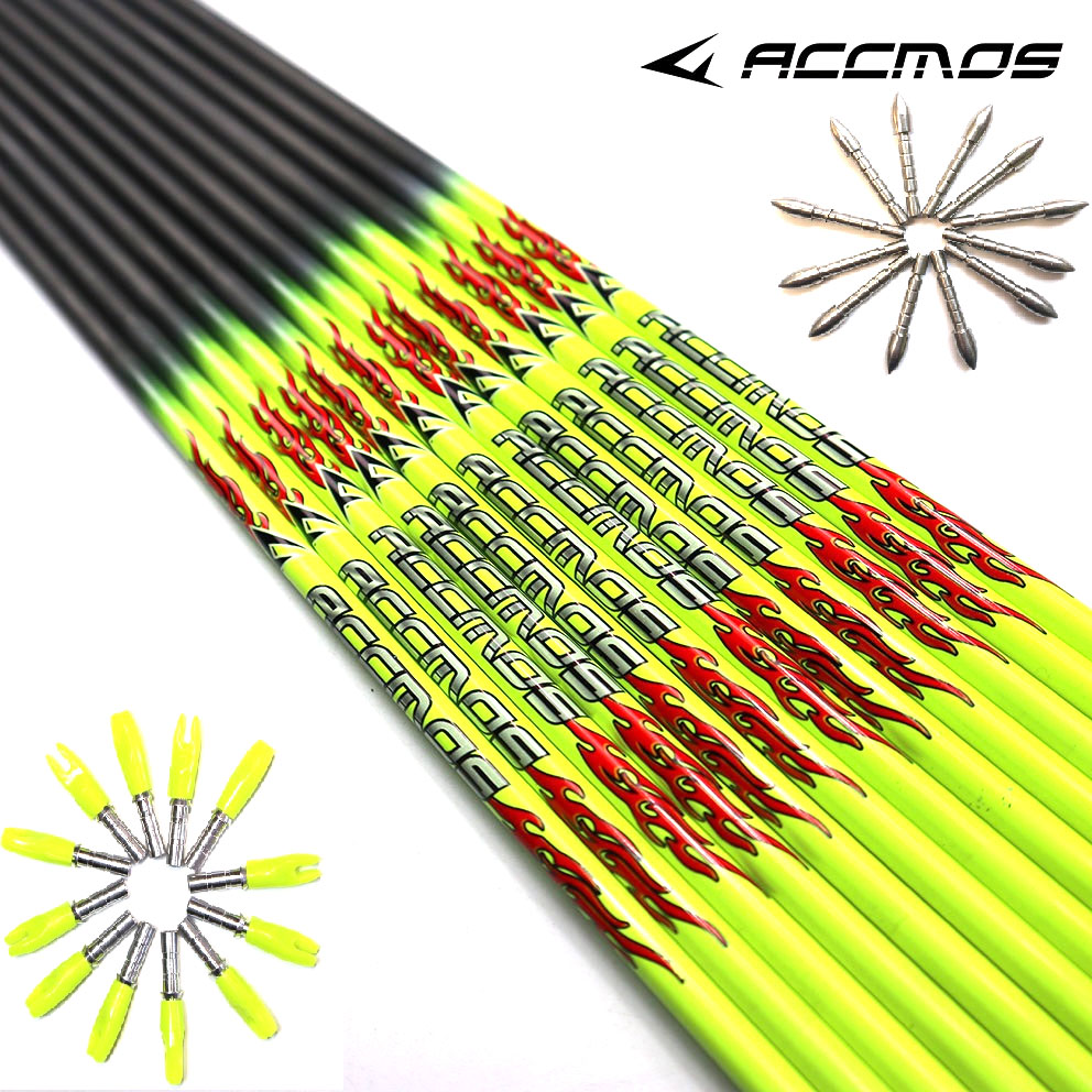 2019 New 31 Inch Spine 400/500/600/700/800/900/1000 Pure Carbon Arrow Shaft ID 4.2mm Arrow Tube Fluorescent Yellow For Arrow DIY