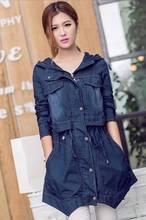 Spring Autumn New 2014 Fashion Brand Long Slim Hooded Denim Trench Coat For Women Jeans Windbreaker Womens Free shipping B1070