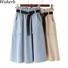 Woherb Verano de 2019 8 colores faldas casuales para mujer de falda Midi f794970a5ba2