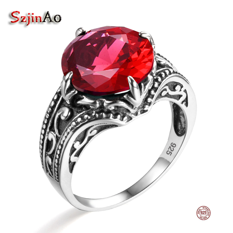 Szjinao Fashion African Compatible Brand 925 Sterling Silver Ring Authentic European Women Punk Red Ruby Ring Vintage Jewelry ...